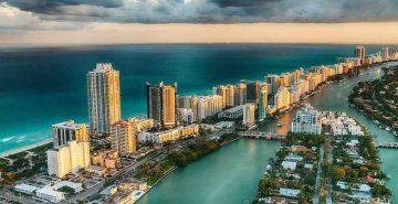 Aerial view of Miami Beach skyline, Florida